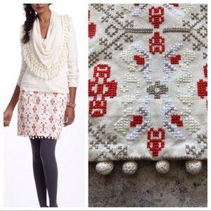 Anthro Maeve Blomma Pom Pom Embroidered Skirt